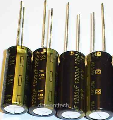 4x Panasonic Fm 1200uf 16v Low-esr Impedance 105c Radial Capacitors 10mm 10x25mm