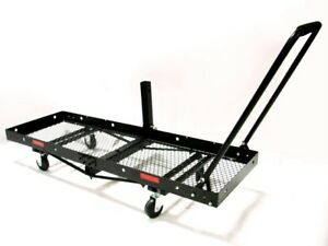 60-x-20-FOLDING-CARGO-CARRIER-HITCH-MOUNT-DOLLY-CAMPING-RV-PORTABLE-w-WHEELS