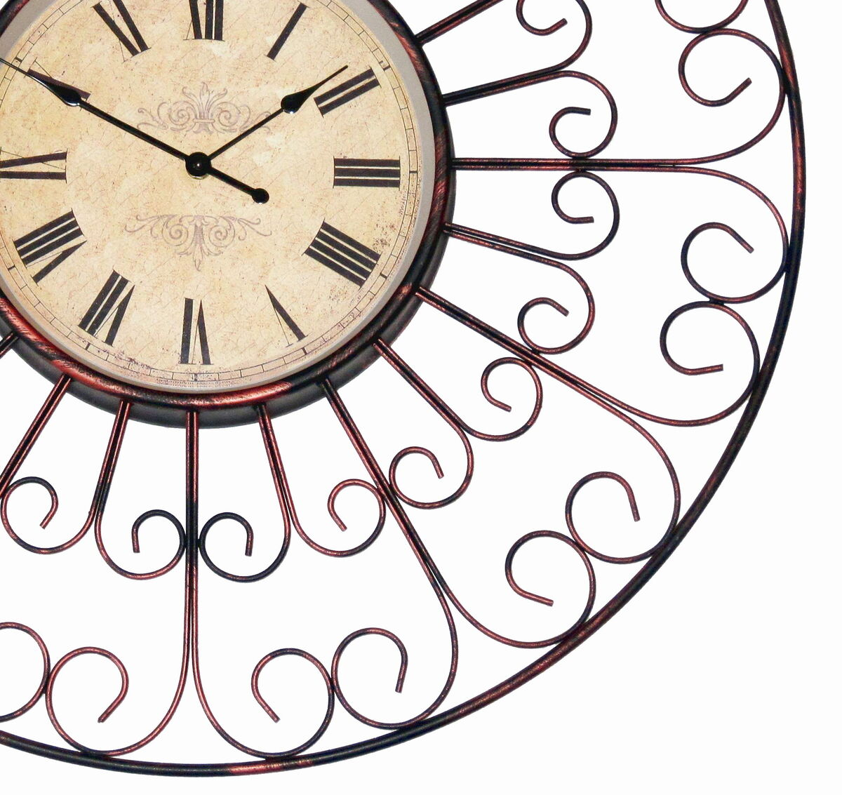 large metal french provincial wrought iron wall clock