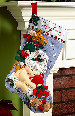 Bucilla Baby's First Christmas 18 Felt Stocking Kit 86277, Bear, Kitten 2011