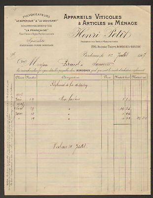 """BORDEAUX (33) APPAREILS VITICOLES """"HENRI PETIT"""" en 1907"""