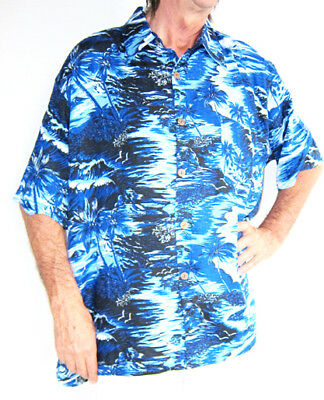 Loud Hawaiian Shirt, Blue With Palms/surf/boats, Xl, 54, Stag Night Party