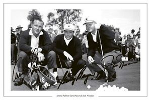 ARNOLD PALMER JACK NICKLAUS GARY PLAYER GOLF LEGENDS SIGNED PHOTO PRINT