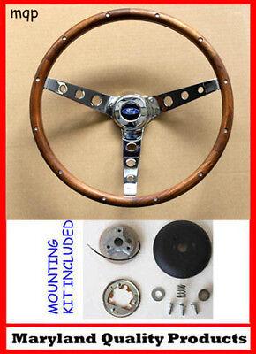 1949-56 Ford Ranch Wagon Skyliner Grant Wood Steering Wheel Walnut 13 1/2