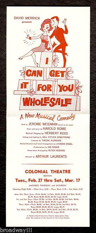 "Barbra Streisand (Debut) ""WHOLESALE"" Elliott Gould 1962 Boston Tryout Flyer"