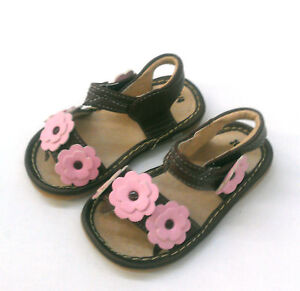 NWT-Girls-Leather-Sandals-Brown-Pink-Squeaky-Shoes