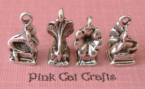 4-GRAMOPHONE-VINTAGE-RECORD-PLAYER-Tibetan-Silver-3D-Charms-Pendants-Beads