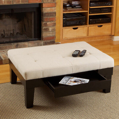 Natural Fabric Upholstered Storage Ottoman Coffee Table w/ Drawer