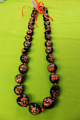 Hawaii Wedding / Graduation Kukui Nut Lei Necklace Black & Orange Hibiscus