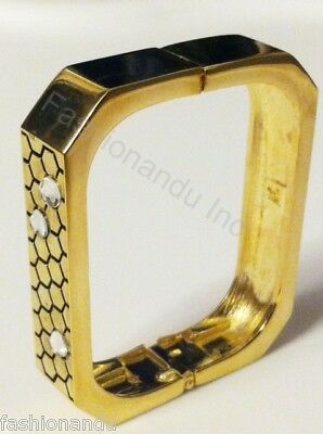 Belle Noel Kim Kardashian Gold Honey Hexagon Pave Cuff