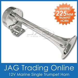 12V 225mm SINGLE TRUMPET HORN - MARINE/BOAT/TRUCK/CAR