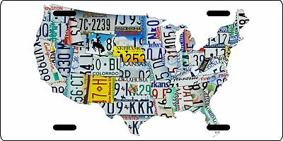 License Plate Art Map of the U.S. metal License Plate