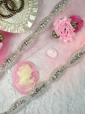Xr60 Crystal Clear Bridal Rhinestone Beaded Trim Wedding Accessory Embellishing
