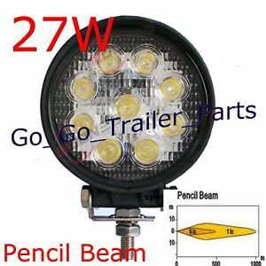 27W Round LED Work Light 12V/24V SPOT Lamp Pencil Beam
