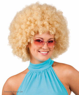 Ladies 70's Blonde Curly Afro Big Hair Disco Fancy Dress Costume Accessory New - Big Hair Kostüm