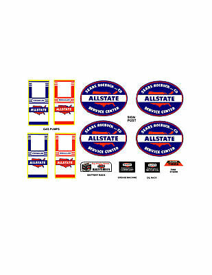 Marx Allstate Tin Toy Service Station Decal Set Type 2