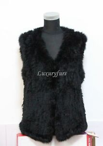 On-sale-knit-rabbit-fur-vest-black-color-free-shipping