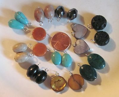10 Pairs- Gemstone Earring Dangles- Simple Style- Stone Beads w/ Hanging Loops