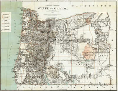1879 Oregon Map Or Pacific City Otis Dallas McMinnville GRANT HARNEY COUNTY huge