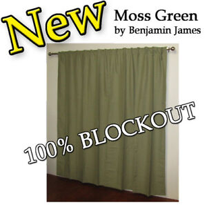 Concealed Tab Top curtains BLOCKOUT Moss Green  PAIR Easy to hang New