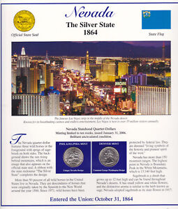 NEVADA-2-State-25-P-D-Mint-Brilliant-UNC-w-STAMPS