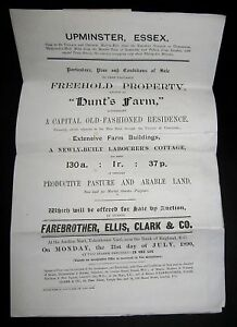 HUNTS-FARM-UPMINISTER-ESSEX-FREEHOLD-PROPERTY-SALE-PARTICULAR-1890-FOLDING-PLAN