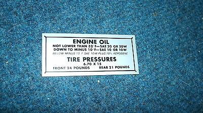 1950 Ford Car Glove Box Tire Pressure Decal Sticker