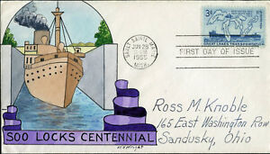 1069-SOO-LOCKS-CENTL-FDC-WN-WRIGHT-HPAINTD-CHT-BM5954
