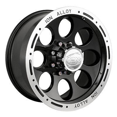16x8 Ion 174 5,6,8 Lug 4 Black Beadlock Wheels Rims Free Caps Lugs Stems