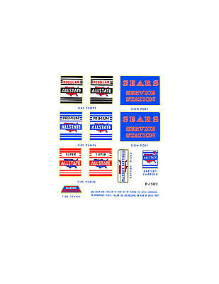 Marx Allstate Tin Toy Service Station Decal Set Type 1