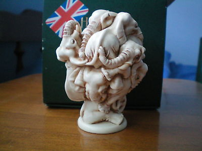 Harmony Kingdom Atlas Shrugged Elephants UK Made Marble Resin Box Figurine