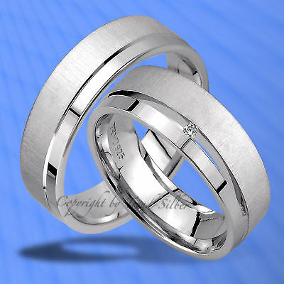 Trauringe , Eheringe Mit Diamant , Silber 925 - J95-1