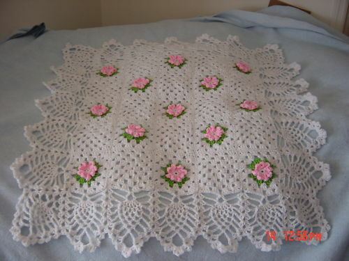 HANDMADE BABY AFGHAN BLANKET WHITE, CHOICE OF FLOWERS