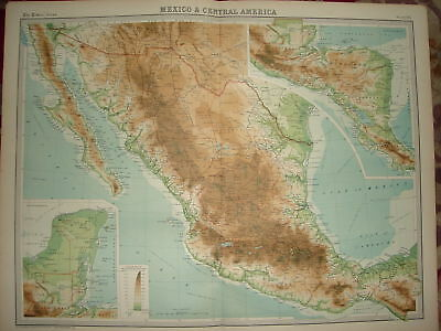 1920 LARGE MAP ~ MEXICO ~ CENTRAL AMERICA ~ 23