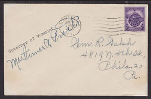 Mortimer-R-Proctor-VT-Governor-1945-47-signed-Cover