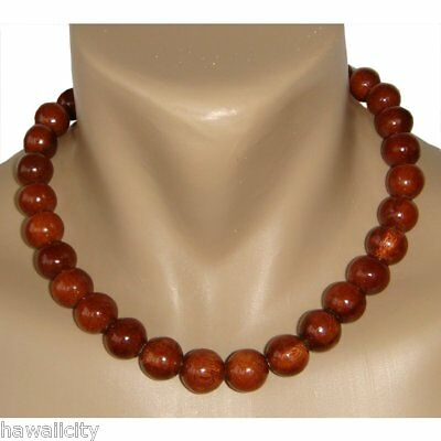 Hawaiian Jewelry Large Koa Wood Bead Necklace from Hawaii
