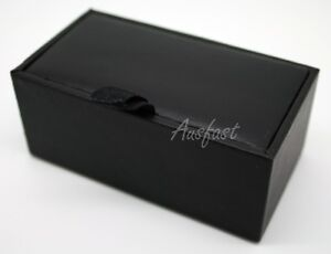NEW Professional Black PU Leather Cufflinks Gift Box