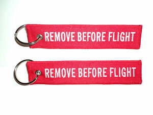 Embroidered-Remove-Before-Flight-Keyring-Keychain-Luggage-Tag-x-2