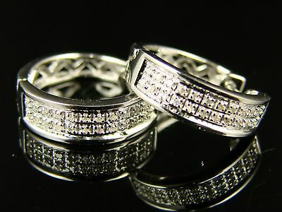 Mens/ladies Round Diamond Hoops Huggies 15mm Earrings on sale