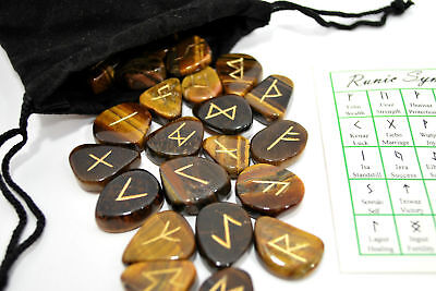 Tigers Eye Elder Futhark Rune Set Hand Carved Gemstone Runic