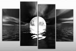 LARGE-BLACK-WHITE-MOON-SEA-SEASCAPE-CANVAS-PICTURE-40