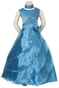Flower-Girl-Pageant-Blue-Dress-Graduation-Party-Evening-Formal-Size-8-12-14-16