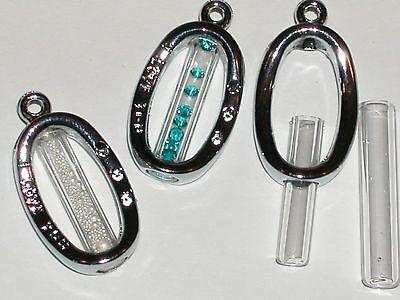 1 Fillable Glass Oval Pendant Tube Bottle Vial Locket Necklace Charm
