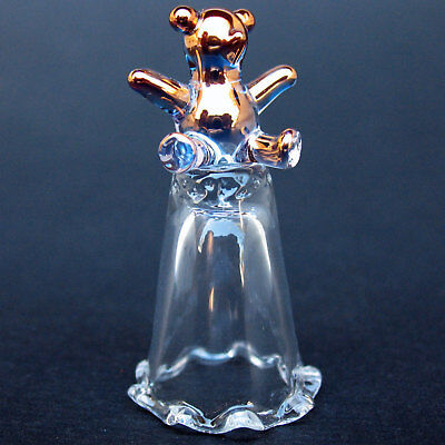 Teddy Bear Blown Glass Thimble Crystal Gold Figurine