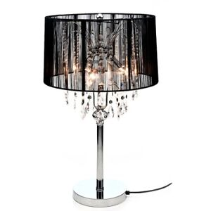 Milano Allure Black Table Lamp With Hanging Crystals