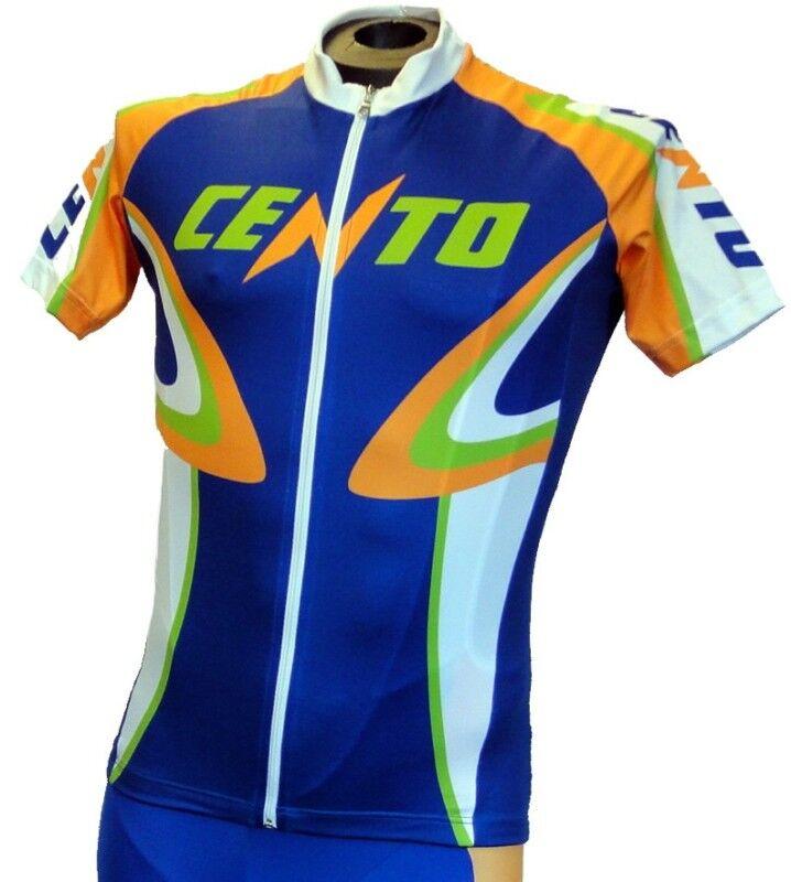 Gsg Cento Arancia Classic Cycling Jersey Full Zip Blue