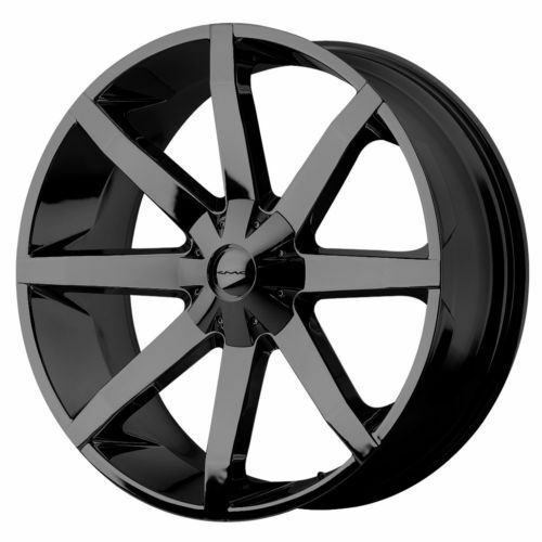 26 inch KMC Slide Black Rims and Tires Suburban Tahoe Yukon 1 2 Ton