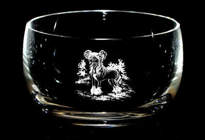 HAIRLESS CHINESE CRESTED *DOG GIFT* 12.5cm Boxed CRYSTAL GLASS BOWL