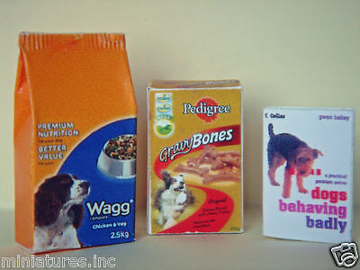 Dolls House Miniature 2 Dog Foods & Book - Pedigree Gravy Bones & Wagg Biscuits