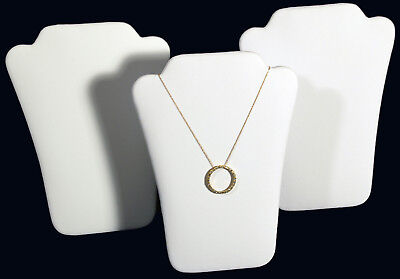 3 New White Leather Padded Necklace Pendant Display 6